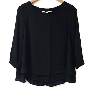 LC Lauren Conrad black blouse with lace panel back